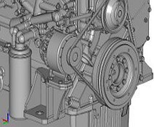 Details of an in-line six-cylinder engine CAD geometry