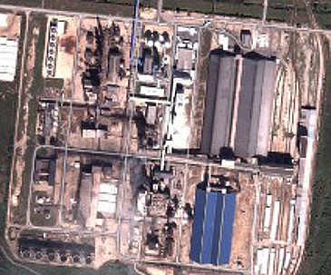 Satellite view of the ammonia factory in Google Earth
