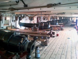 HMS Warrior (1860) upper gundeck of the first warship with a steel hull