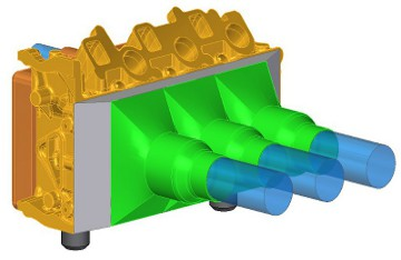 Conceptual CAD design of cleaning head attached to the camshaft side of cylinder head
