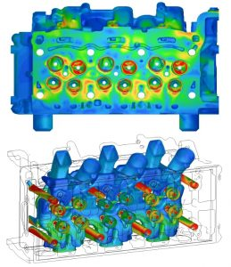 Fluid dynamics simulation of cylinder head casting vacuum cleaning