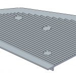 Section of the Cover test workpiece showing small ribs on outer surface. Wall thickness is 3mm. Dimensions: 599x230x20mm