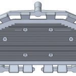 View from the ribbed side to show ports. Casting assembly of the Cover with optimised gating system. 3 gating channels and 4 overflows on the side. Dimensions: 599x230x20mm