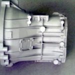 Gearbox housing prototype made with gravity sand casting. Alloy: AlSi10Mg. Wall thickness is 4mm