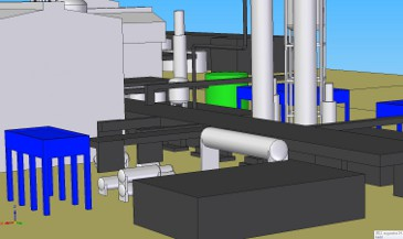 Northeastern view of ammonia factory in CAD software