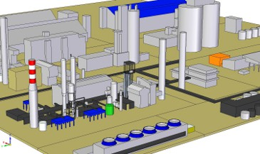 Northwestern view of the ammonia factory in CAD software