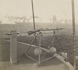 A Whitworth rifle on stand in 1860 in Wimbledon