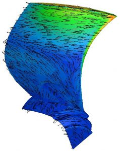 Fluid dynamics simulation of a fan blade