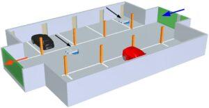Car park ventilation geometry